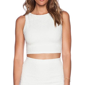 Alice + Olivia Iman Boat Neck Tank in White