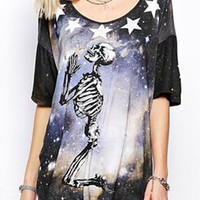 Multicolor Galaxy And Skull Printed T-shirt
