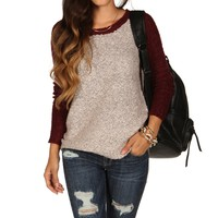 Sale-burgundy Fuzzy Raglan Sweater