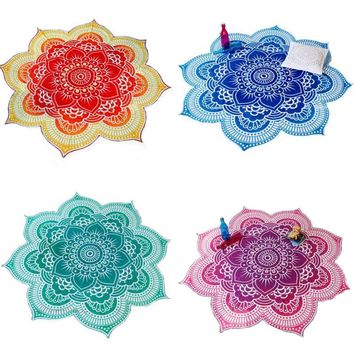 New Lotus Flower Indian Mandala Tapestry Decorative Wall Hanging Blanket Boho Beach Throw Towel Hippie Yoga Mat Bedspread 150cm