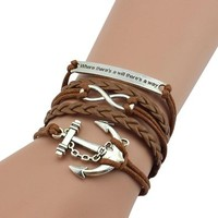 jeansian Women's Retro Anchors There is a way Multilayer Bracelet WCE040