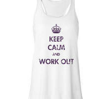 Keep Calm and Work Out - Bella Flowy Tank Top - Optional Bow on Back