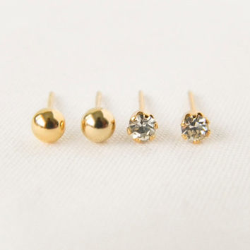 Crystal Clear Gemstone and Gold Ball Studs Set // Gold Earrings, Rhinestone Earrings, Bridesmaid Earrings, Dainty, Ball, Cartilage Earrings