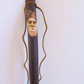 Walking Stick Woman Wood Spirit Carving Hiking Stick Hand Carved Birthday Valentines, Gift for Hiker or Walker, Staff, Female Wizard,