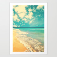 Waves of the sea (retro beach and blue sky) Art Print by AC Photography