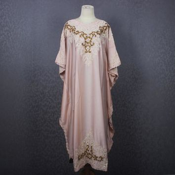 Pretty Moroccan Kaftan Dress, Handmade Embroidered Beige Kaftan Satin Maxi Dress, Dubai Abaya Caftan Maxi Bridesmaid Wedding Party Dress