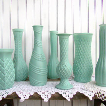 Aqua Painted & Distressed Vases, Wedding Decoration, Rustic Chic, Party Bud Vases, Set of 7, Centerpiece Vase, Showers, Celebrations