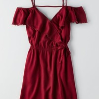 AEO Women's Wrap Front Off-the-shoulder Dress (Burgundy)