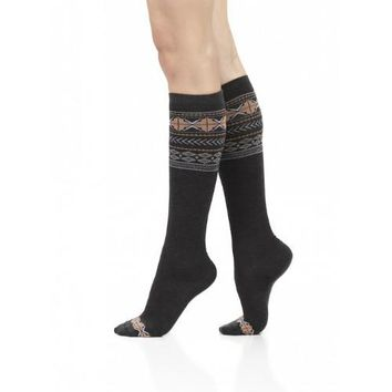 Navy & Orange Fair Isle Compression Socks for Women