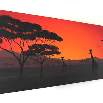 African Sunset acrylic painting (UK only)
