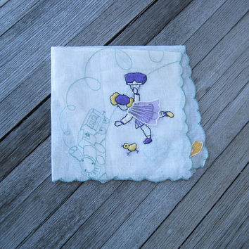 Embroidered Vintage Novelty Hankie with Applied Cape & Little Girl Running for Train - Cotton Pictorial Handkerchief Made in Switzerland