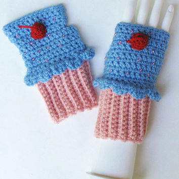 Pink and Blue Cupcake Wristwarmers, Cupcake Dessert Fingerless Gloves w/ Cherry & Sprinkles, Kawaii Lolita Cosplay Accessory, Ready to Ship