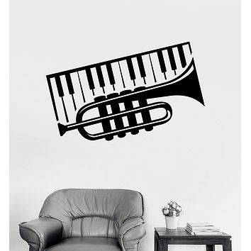 Vinyl Wall Decal Trumpet Piano Musical Instrument Music Decor Stickers Unique Gift (ig3093)