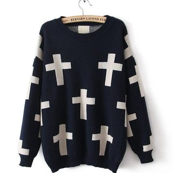 Navy Blue Thickened Cross Pullover Loose Sweater