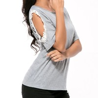 Casual Open Shoulder Decorative Lace Short Sleeve T-Shirt