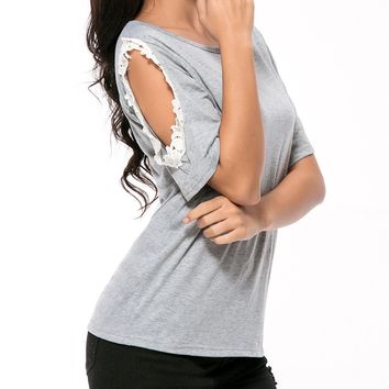 Streetstyle  Casual Open Shoulder Decorative Lace Short Sleeve T-Shirt