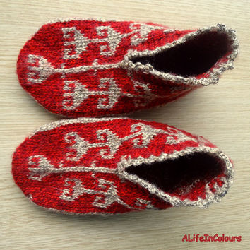 Women's unique hand knitted red and brown colour warm slipper socks, slippers, house socks.