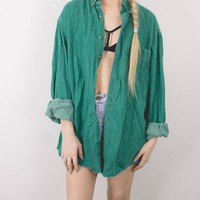 Vintage Green Solid Button Up Shirt