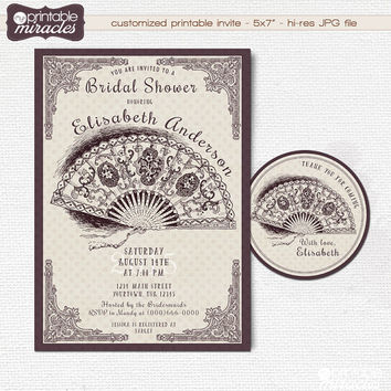 Elegant bridal shower invitation / Digital printable vintage lace fan bridal party invites / Bachelorette invite/ Wedding shower invitation