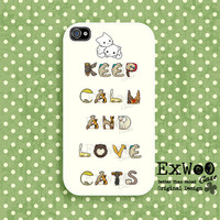 Keep Calm and Love Cats   iPhone 4 Case iPhone case by ExwooCase
