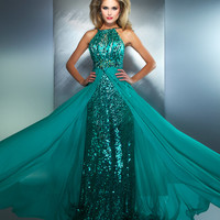 Mac Duggal Prom 2013 - Jade Halter Gown With Full Sequin - Unique Vintage - Cocktail, Pinup, Holiday & Prom Dresses.