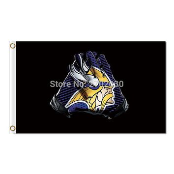 Minnesota Vikings Gloves Design Flag Football Team Super Bowl Champions Fans World Series 3ft X 5ft Banner 2 Metal Grommets