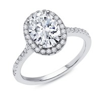 Diamonvita Couture® 2 1/4 ct. tw. Oval Halo Ring in Sterling Silver