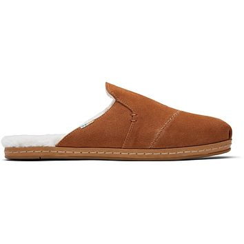 TOMS - Women's Nova Leather Wrap Carmel Brown Suede Faux Fur Slip-Ons