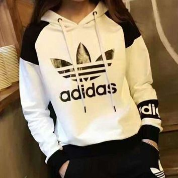 """Adidas"" Hooded Pullover Tops Pants Trousers Set Two-piece Sportswear-457"