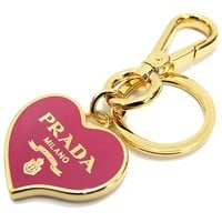Prada Heart Pink Gold Metal Women's Key Chain 1PS398