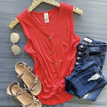 The Keys To My Heart Top - Coral
