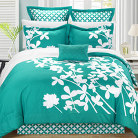 Chic Home Sire 7-Piece Comforter Set King Size, Turquoise; Bedskirt, Four Shams and Decorative Pillow Included