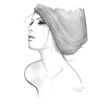 Print from original watercolor, pencil and charcoal fashion illustration by Jessica Durrant titled Vulnerability