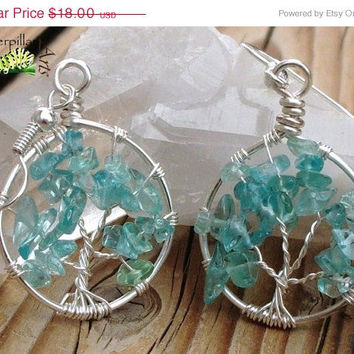 ON SALE Tree of Life Earrings - Blue Apatite - Made to Order - Silver Plated - Tree of Life Jewelry