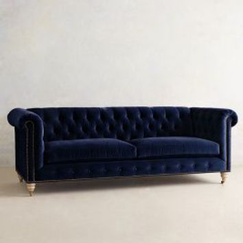 Velvet Lyre Chesterfield Sofa, Wilcox by Anthropologie