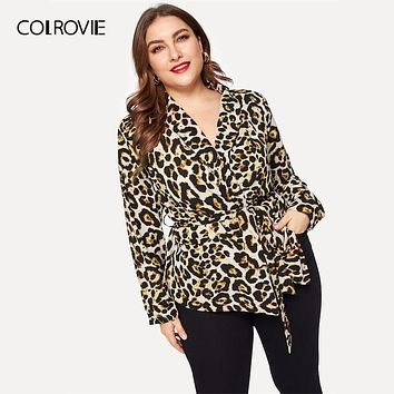 COLROVIE Plus Size Shawl Collar Leopard Print Wrap Casual Blazer Women Coat 2019 Spring Fashion Long Sleeve Belted Office Coats