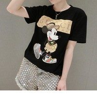"""Gucci"" Women Casual Cartoon Mouse Pattern Print Short Sleeve T-shirt Top Tee"