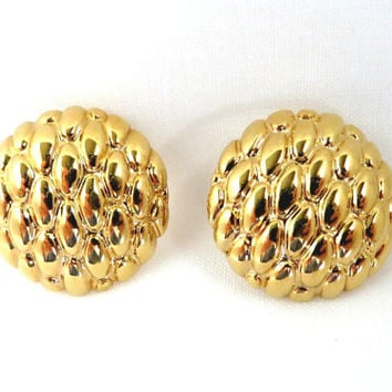 Vintage Napier Button Earrings, Gold Tone Pierced Studs, Pineapple Earrings, Round Studs