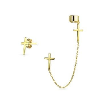 Cartilage Cross Chain Cuff Stud Earring 14K Gold Plate Sterling Silver