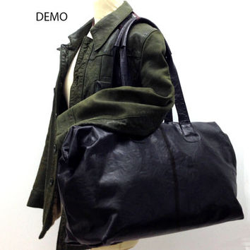 Sale!!! - Black Leather Weekend bag Overnight Duffle Leather Travel Bag Leather Holdall Flight cabin bag