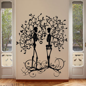 Skeleton couple tree of life wall decal, tree wall decal, skeleton tree,  Gothic