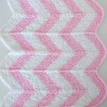 Pink White Strip Stroller Baby Blanket Chevron Stripe Car Seat Blanket Retro Modern 24x26 Vegan Blanket