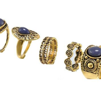 Gold Natural Stone Opal Retro Rings Sets Women