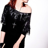Korea fashion style Loose Black Half Sleeve Round Neck Tassels T-shirt TOP