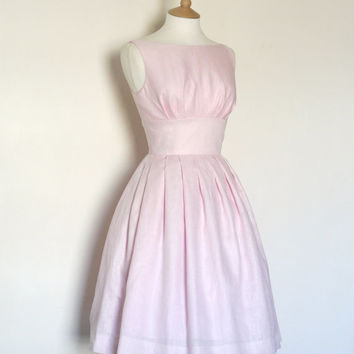 Pale Pink Linen Tiffany Prom Dress - Made by Dig For Victory