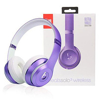 Stylish Unisex Beats Solo 3 Wireless Magic Sound Bluetooth Wireless Hands Headset MP3 Music Headphone with Microphone Line-in Socket TF Card Slot Purple I
