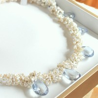 SEYMOURSky Blue Topaz and Cream Keshi Pearl Gold by trulyenchanted