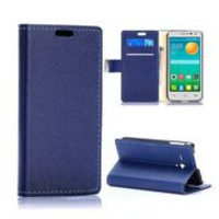 Fashion Wallet Style Magnetic Flip Stand PC+PU Leather Case for Alcatel one touth POP D5/5038E(Blue)
