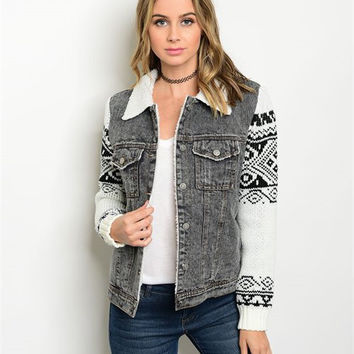 BLACK DENIM IVORY TRIBAL JACKET