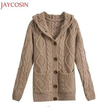 Autumn Winter Women Fashion Single Button Pocket Hooded Sweater Casual Lady Warm Long Sleeve Knitwear Coat Jacket Outwear Nov25